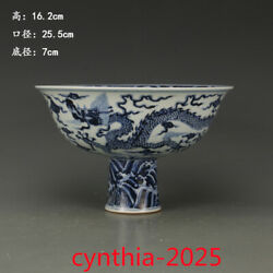 10andrdquoold China Antique Ming Xuande Blue And White Dragon Phoenix High Foot Bowl