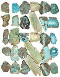 Mixed American Turquoise Mines Rough Slabs For Lapidary Cabochon Cutting, Lot Of