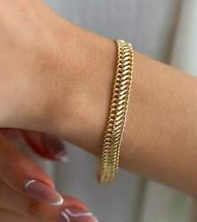 18 Kt Hallmark Real Solid Yellow Gold Double Curb Chain Bracelet Bangle Wide 8mm