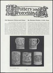 Old Masonic China And Glass. An Original Article From The Connoisseur, 1911. 1911