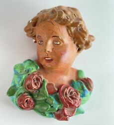 Antique Vintage Chalkware Hanging Wall French Lady Bust Hand-painted Roses