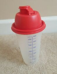 Tupperware Clear Cup Red Lid Quick Shaker Mixer Blender 2 PC 845 1 844 2