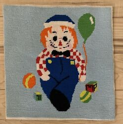 Needlepoint Raggedy Andy Pillow Seat Cover Wall Hanging