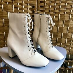 Next Cream Victorian Leather Ankle Boots Lace Up Square Toe Steampunk Style 5