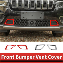 Car Front Bumper Vent Inlet Cover Decor Trim For Jeep Cherokee 19+ Abs 2pcs