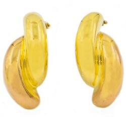 Pair Of Pink And Yellow 18k Gold Half-tube Earrings By Nicolis Cola