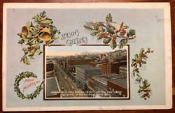 Seasonand039s Greetings Looking West Over Business District Butte Montana Litho 1917