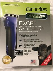 New Andis Excel 5-speed+ Livestock Clippers 63250 Cattle Goats Equine Horse