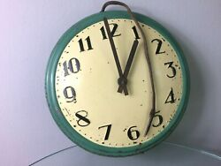 Electric Wall Clock 'foreign' Enamel Vintage Collectable Industrial Clock