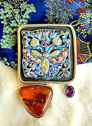 Amy Kahn Russell Huge One Of A Kind Baltic Amber Amethyst S/s Pin/pendant