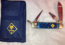 Official Cub Scout Knife Blue China 3 Blade W/case Shown