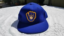 Vintage New Era Milwaukee Brewers Wool Hat Fitted 7 1/8 Dupont Visor Pro Model