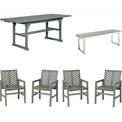 Home Square 4 Piece Patio Set With Extendable Dining Table 4 Chairs And Bench