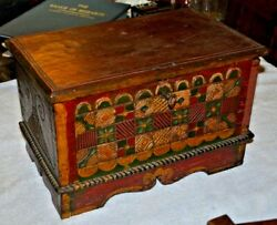 Antique German/swiss Painted Hand Carved Wood Chest With Key