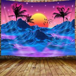 Retro Neon Trippy Large Tapestry for Men Cool Mountain Sun 70s 80s Room Tapestry
