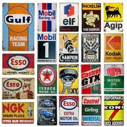 Vintage Metal Tin Signs Gulf Esso Agip Man Cave Plate Motor Oil Garage Wall