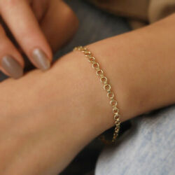 22 Kt Real Solid Yellow Gold Rolo Link Mesh Chain Round Bracelet Bangle 4 Mm