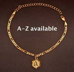 18 Kt Real Solid Yellow Gold Alphabet Letters Initial Bracelet Bangle Chain 4 Mm