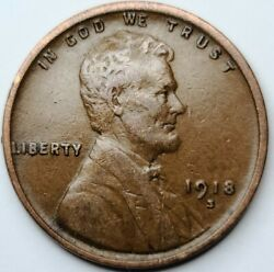 1918 S Ddr Lincoln Wheat One Cent Usa Penny 1¢ San Francisco Mint 1918-s Ddr