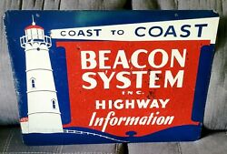 Old Coast To Coast Beacon Highway Info Ds Tin Sign Lighthouse Graphics