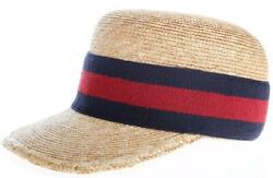 New Natural Straw And Blue Red Web Ball Visor Cap Sun Hat 55/xs