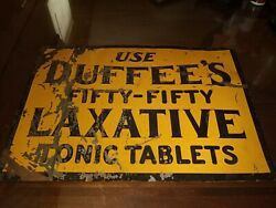 Original 1930's Duffee's Fifty-fifty Laxative Tonic Tablets Advertising Tin Sign