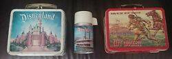 Vintage Disneyland Lunch Boxes 1955 Davy Crockett And 1959 Castle W/thermos