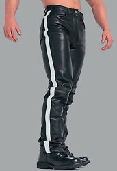Menand039s Real Leather Bikers Pants Contrast Stripes In 3 Colors 5 Pockets Pants
