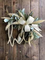 Fall Front Door Welcome Wreath Boho Farmhouse Faux Pampas Grass Rustic Hi Sign