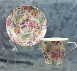 Vtg Collectible Lord Nelson Heather Chintz Teacup And Saucer Made In England