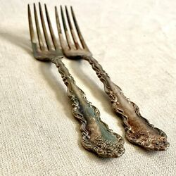 Holmes Edwards 2 Forks Inlaid Silverplate Pat. 1904 Flatware Floral Set Of Two