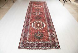 11and039 X 3and039 8 Hand-knotted Vintage Runner Rug Red Handmade Hallway Carpet 3x11