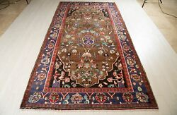 10' X 5' 2 Vintage Wool Rug Brown Blue Hand-knotted Tribal Semi Antique Carpet