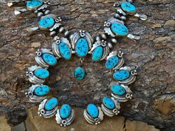 Huge Sterling Silver Native American Turquoise Squash Blossom Necklace Signed 🥰