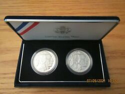 2001 United States Mint Silver Buffalo Coin Set Proof And Bu Bf3 Sleeve Box And Coa