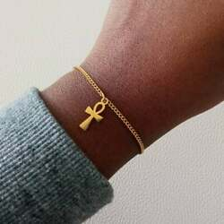 22 Kt Real Solid Yellow Gold Egyptian Cross Women's Bracelet Bangle Chain 3 Mm
