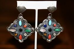 Turquoise And Coral Multi Stone Post Earrings By Ajb