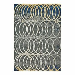 Feizy Brixton 8and039 X 11and039 Spiral Print Modern Fabric Area Rug In Gray/blue