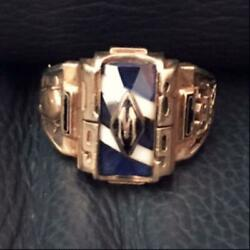 Jostenand039s Colledge School Ring K10 Gold 1989 Vintage Us Size 10.25 Blue White