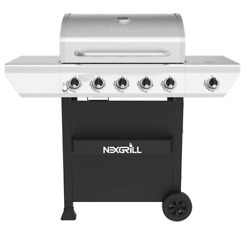 Propane Gas Grill 5-burner In Stainless Steel W/ Side Burner And Condiment Rack