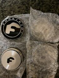 Set Of 4 Authentic New Model Forgiato Floating Center Caps Black And Silver