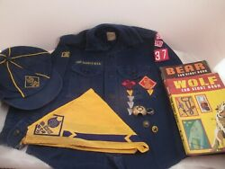 Mid 1960and039s Cub Scout Collection Shirt Hat Kerchief Pins Patches Ring Books
