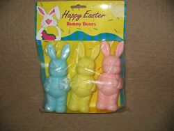 Vintage Plastic Easter Bunny Boxes Candy Container Decor Rabbit 3 New Nip 5 3/4