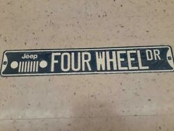 Jeep Four Wheel Drive Metal Sign Raised Letters 20 By 3 Inches Gas Shop