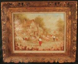 Original Oil Painting Cottage With Figures By Francis Darby Davis Listed