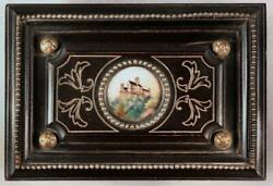 Antique French Or German Cartouche Black Lacquer Box For Jewelry Trinkets