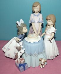 Lladro 5910 Figurine Making A Wish, Birthday Girl Blowing Out Candles Signed Mc