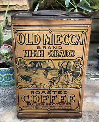 Antique 1920s Old Mecca Brand Coffee 5 Lbs Canister Tin Top Can Butler Brothers
