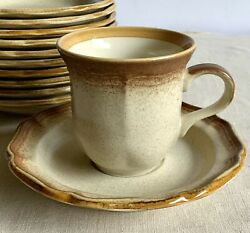 Lot Of Mikasa 12 Cups 11 Saucers E8000 Whole Wheat Coffee Cups Vintage Stoneware