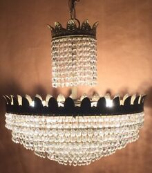 Antique Chandelier - Brass/crystal - French/spanish - Very Unusual - Unique.